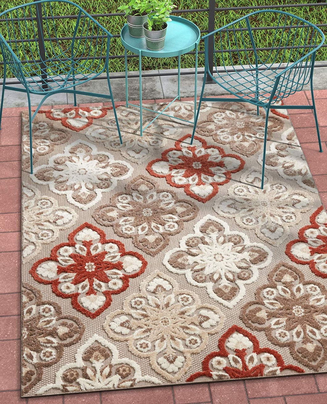 Floral Panel Red, Beige, Taupe, High Traffic Stain Resistant Indoor Outdoor Area Rug