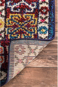 Tribal Navy Orange Mutli Soft Area Rug