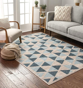 Modern Construct Triangles Geometric Blue Grey Area Rug