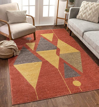 Modern Art Abstract Red Gold Area Rug
