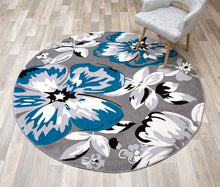 Gray/Grey Teal Blue White Floral Area Rugs
