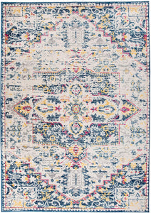 Transitional Distressed Cream Multi-color Soft Area Rug
