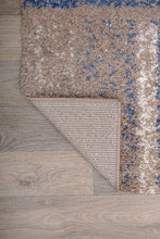 Geometric Pattern Blue Taupe Cozy Shag Area Rugs