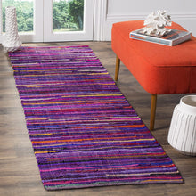 Hand-woven Cotton Area Rug, Purple/Multi