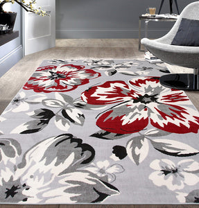 Gray/Grey Red White Floral Area Rugs