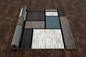Box Pattern Gray/Grey Blue White Area Rug