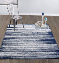 Stripes Design Navy/Teal/Beige Area Rugs