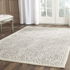 Handcrafted Geometric Light Blue Ivory Premium Wool Soft Area Rug