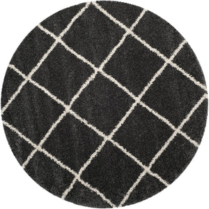 Diamond Trellis Dark Grey/Ivory Soft Plush Shag Area Rug 2-inch Thick