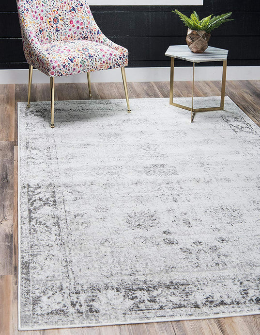Vintage Distressed Bordered Gray Area Rugs