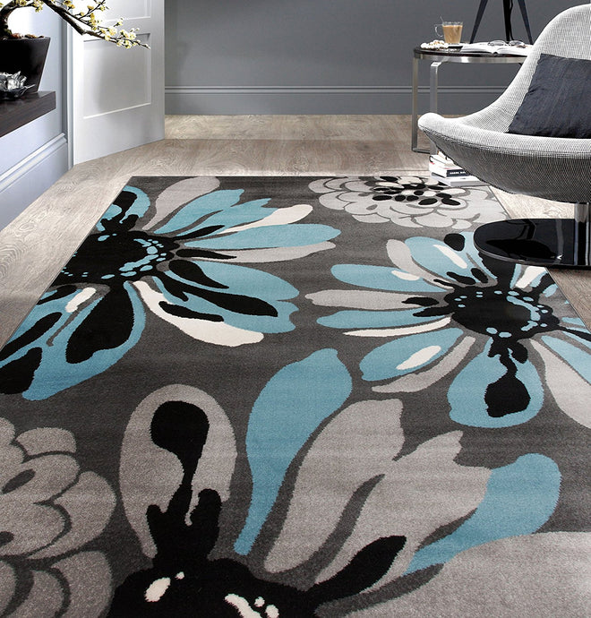 Floral Gray Black Blue Area Rug