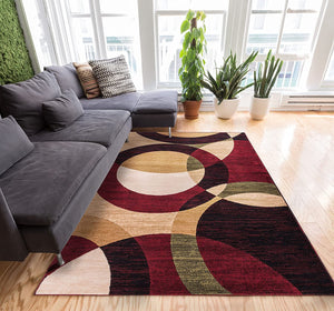 Modern Styling Shapes Circles Multi Color Red Black Beige Thick Soft Area Rug