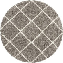Diamond Trellis Grey/Ivory Soft Plush Area Rug 2-inch Thick