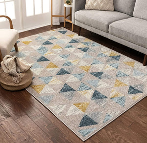 Modern Construct Triangles Geometric Gold Blue Grey Area Rug