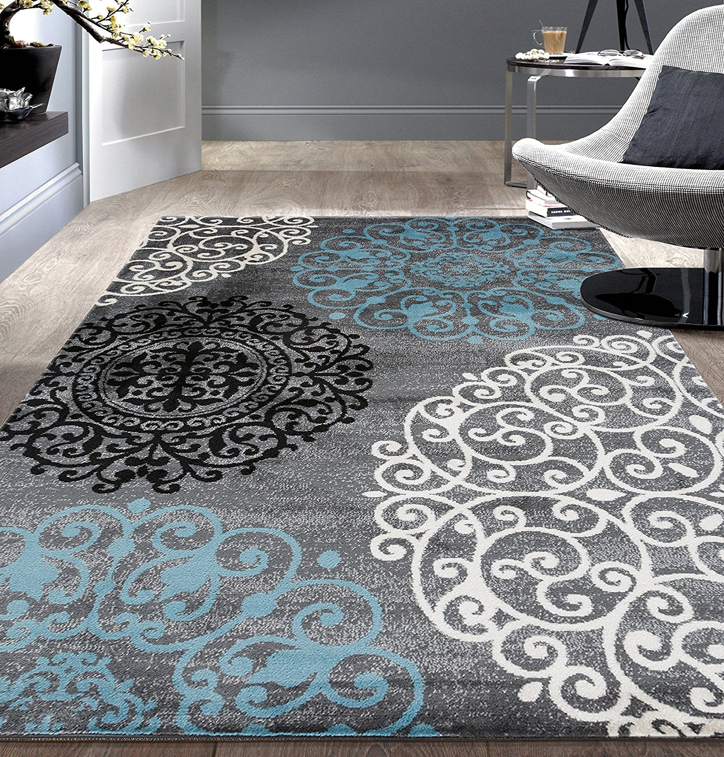 Gray Blue Large Floral Area Rug Modern Rugs And Decor