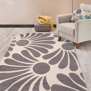 Floral Cream Gray Area Rug