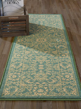 Teal / Beige Floral Area Rugs Non-Slip/ No Skid