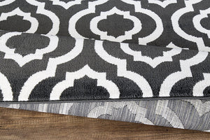 Trellis Design Charcoal Gray/Ivory Area Rugs