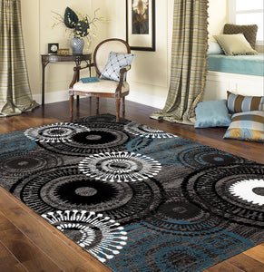 Contemporary Circles Gray/Grey Blue White Black Area Rug