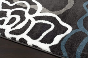 Floral Gray/Grey Yellow Blue Area Rug