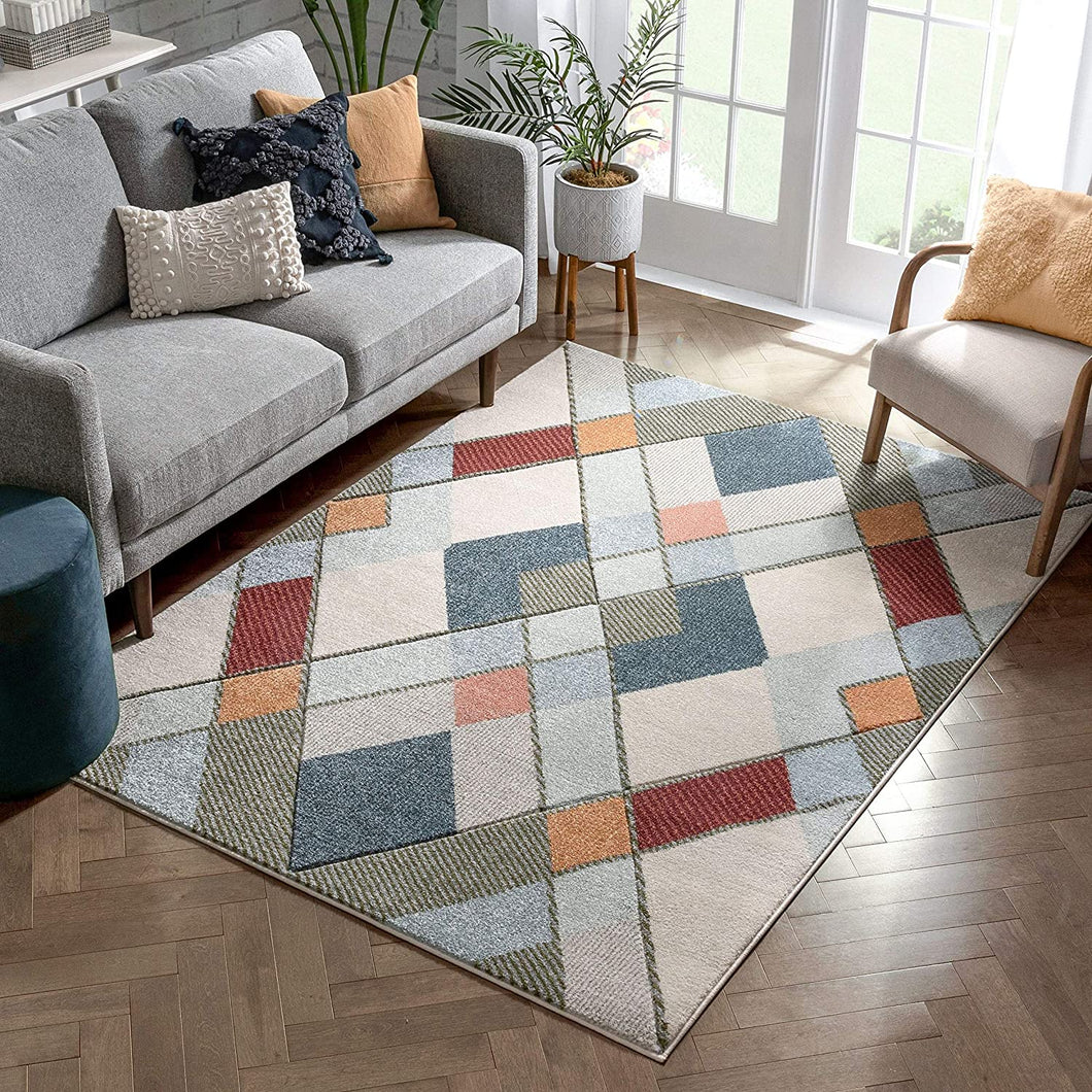 Multi Modern Geometric Diamonds Pattern Area Rug