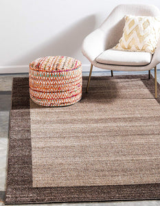 Contemporary Bordered Soft Light Brown Area Rug