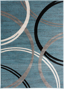 Contemporary Circles Pattern Light Blue Gray Soft Area Rugs