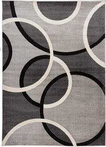 Contemporary Abstract Circles Soft Gray Area Rug