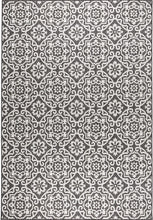 Damask Pattern Black Grey Indoor/Outdoor Area Rug - UV/Weather Resistant