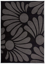 Floral Black Gray Area Rug
