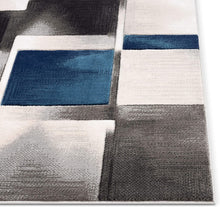 Blue Modern Geometric Boxes Squares Pattern Soft Area Rug