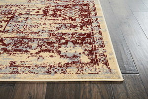 Cream Red Distressed Persian Area Rugs