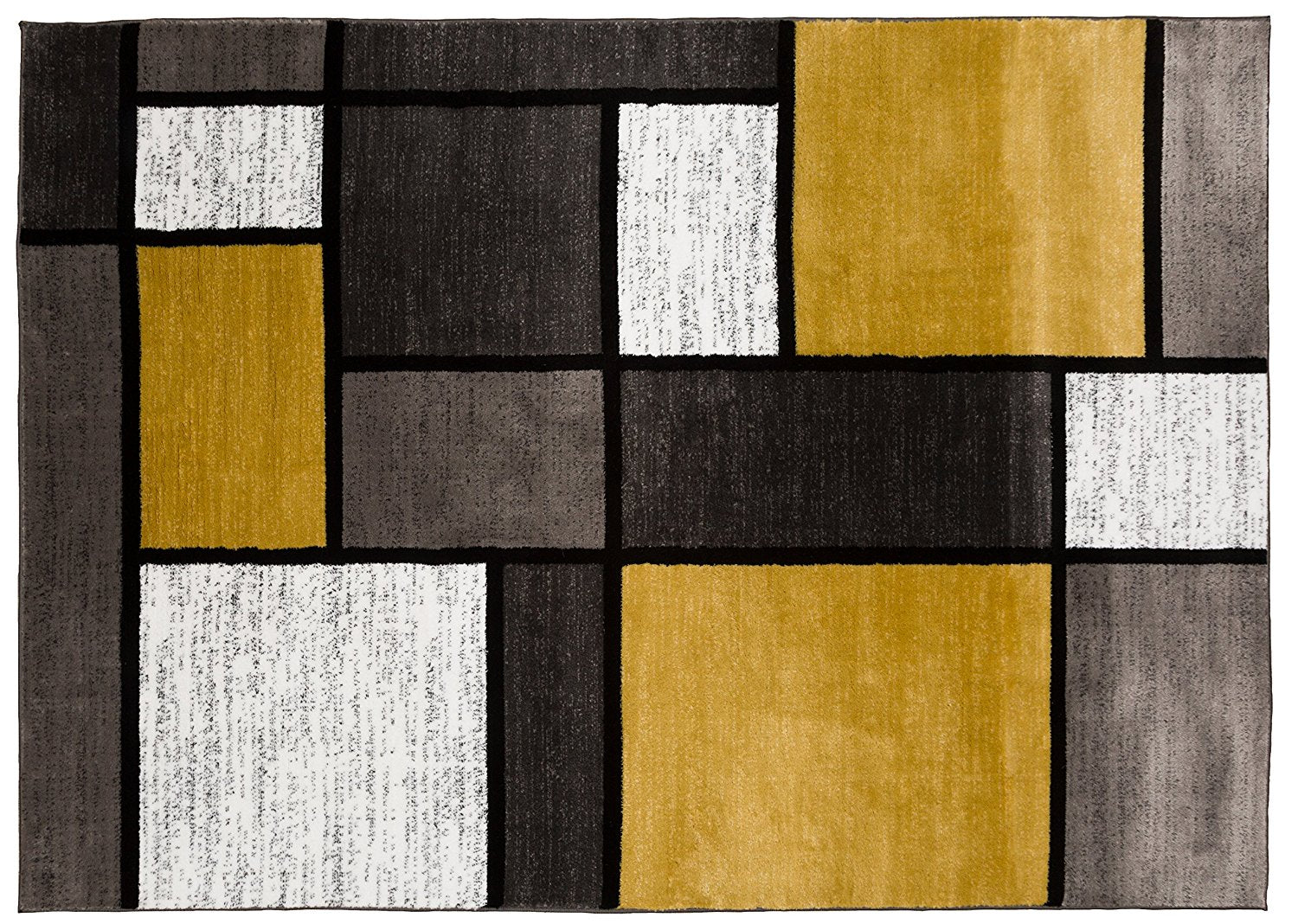 Picture of: Modern Yellow Gray White Area Rug Modern Rugs And Decor