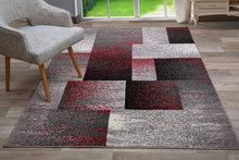 Geometric Red Gray Box Pattern Area Rugs