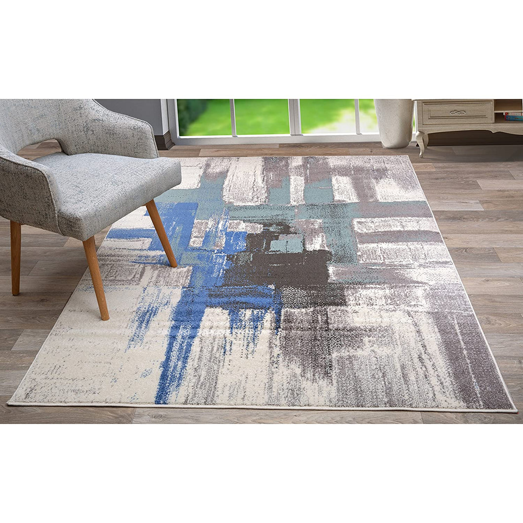 Abstract Blue Gray Ivory Area Rug
