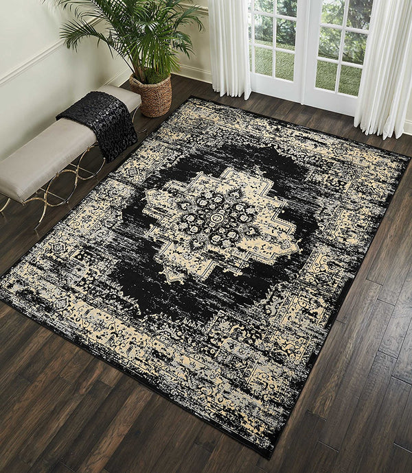 Black Distressed Persian Area Rugs