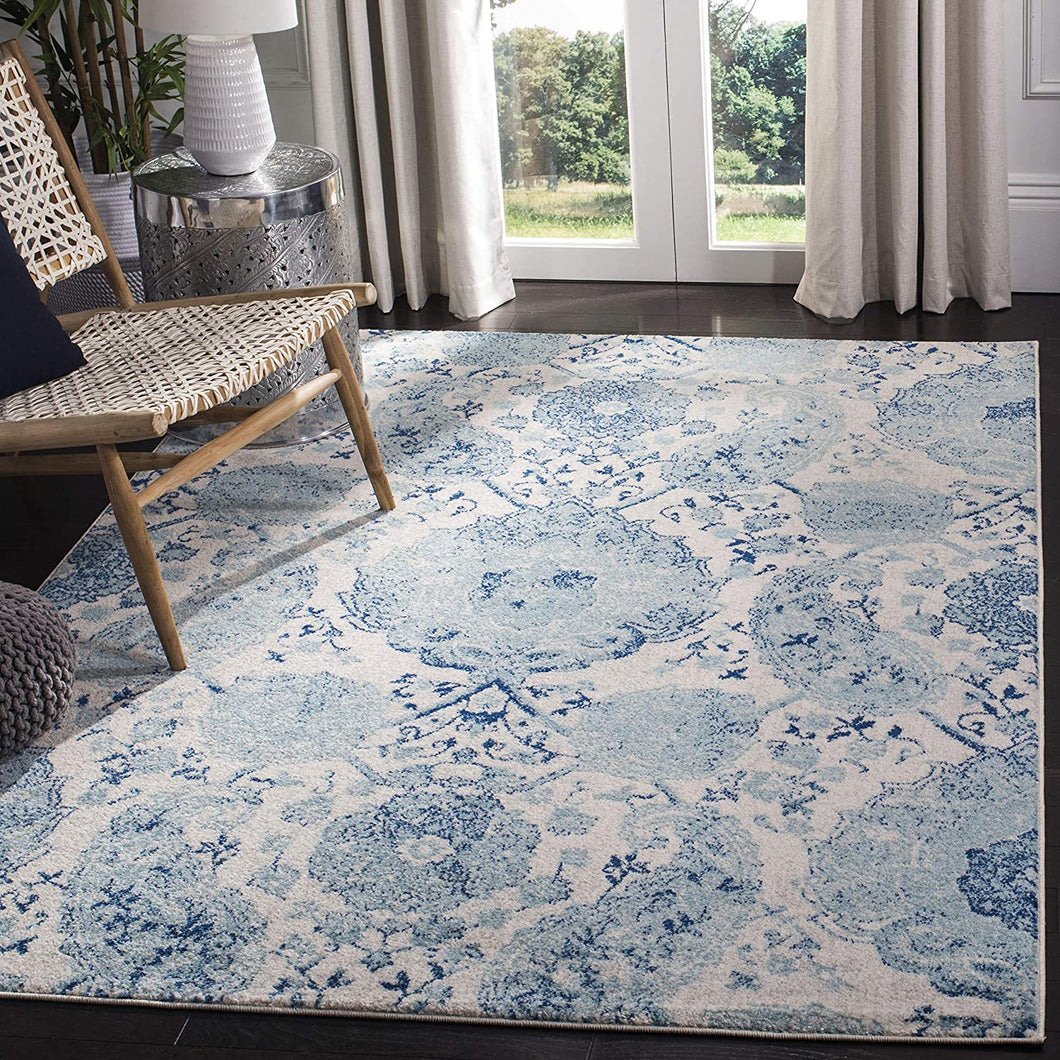 Floral Cream/Turquoise Soft Area Rugs