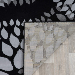 Floral Grey Black Area Rugs