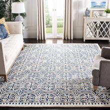 Handcrafted Geometric Navy Blue Ivory Premium Wool Soft Area Rug