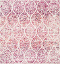 Geometric Trellis Distressed Cream/Fuchsia Soft Area Rug