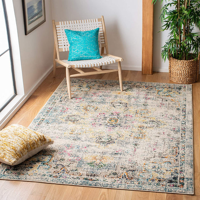 Boho Chic Medallion Distressed Soft Area Rug, Grey / Gold