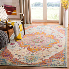 Medallion Distressed Soft Area Rug, Light Blue / Fuchsia