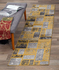 Boxes Pattern Mustard Yellow Gray Area Rug