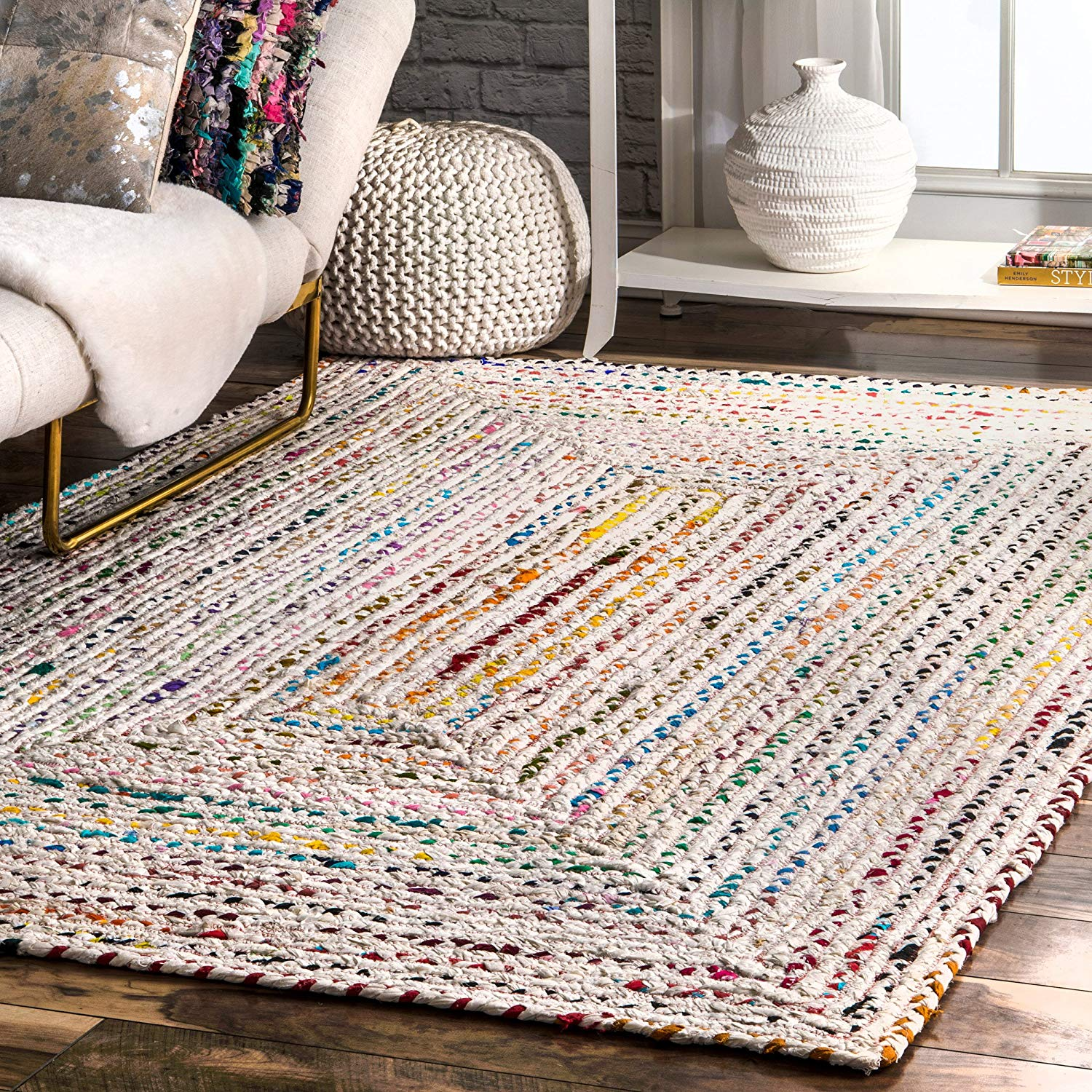 Hand Braided Ivory Multi Color Soft Area Rugs Modern Rugs And Decor