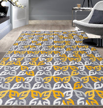 Geometric Yellow Gray Area Rug Non-Slip Non Skid