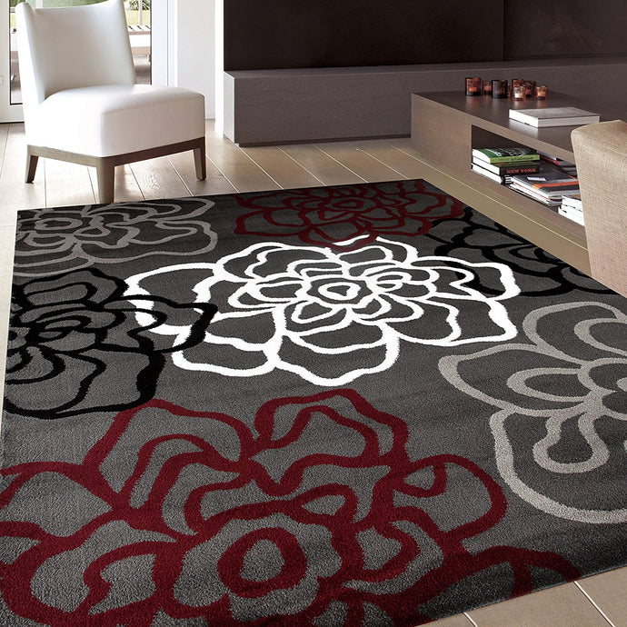Floral Gray/Grey Red White Area Rug