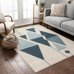 Modern Art Abstract Blue Ivory Area Rug