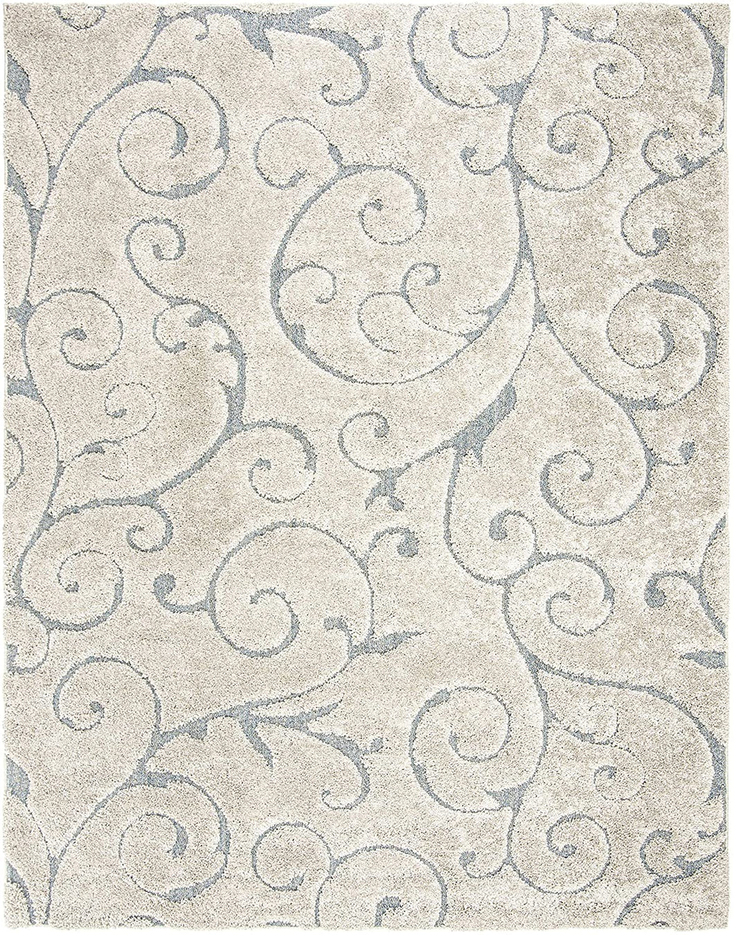 Premium Swirl Thick Plush Cream/Dark Blue   Area Shag Rug