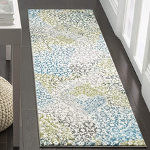 Floral Medallion Ivory Peacock Blue Area Rugs