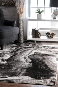 Abstract Grey Soft Area Rug